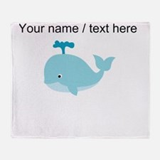Custom Blue Cartoon Whale Throw Blanket