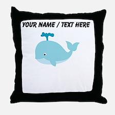 Custom Blue Cartoon Whale Throw Pillow