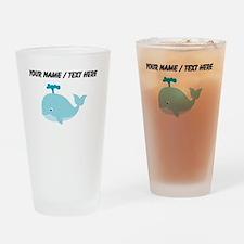 Custom Blue Cartoon Whale Drinking Glass