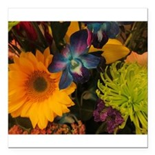 "Flowers Square Car Magnet 3"" x 3"""