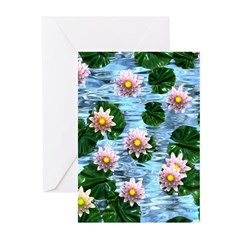 Waterlily reflections Greeting Cards (Pk of 10)