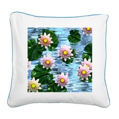 Waterlily reflections Square Canvas Pillow