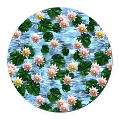 Waterlily reflections Round Car Magnet