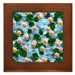 Waterlily reflections Framed Tile