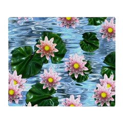 Waterlily reflections Throw Blanket