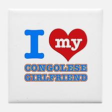 Congolese Girlfriend designs Tile Coaster