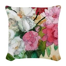 Pretty Pink Peony Woven Throw Pillow