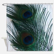 Peacock with White Shower Curtain