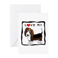I Love My Basset Hound Greeting Card