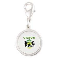 Gabon Coat Of Arms Designs Silver Round Charm