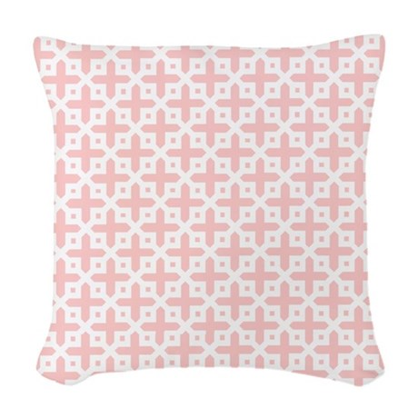 pale pink cross pattern woven throw pillow by cutetoboot. Black Bedroom Furniture Sets. Home Design Ideas