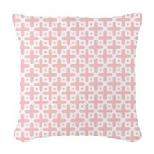 Pale Pink Cross Pattern Woven Throw Pillow