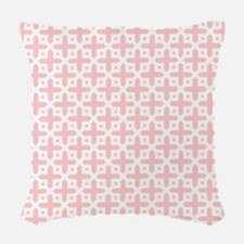 Pale Pink Cross Pattern Woven Throw Pillow