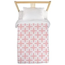Pale Pink Cross Pattern Twin Duvet