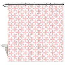 Pale Pink Cross Pattern Shower Curtain