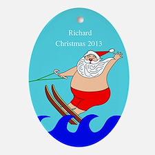 Personalized Water Skiing Santa Ornament
