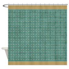 Brown & Green Diamond P2 Shower Curtain