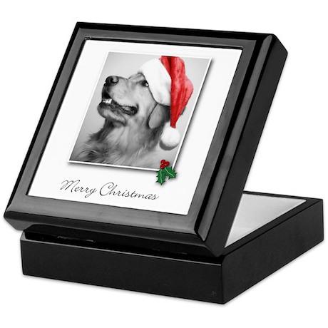 Golden Retriever Santa Keepsake Box