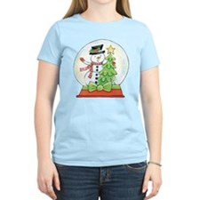 Cartoon Christmas Snow Globe Snowman Tree T-Shirt