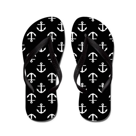 Black and White Anchors Flip Flops
