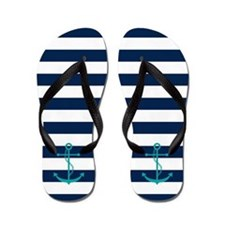 Teal Anchors on Blue Stripes Flip Flops