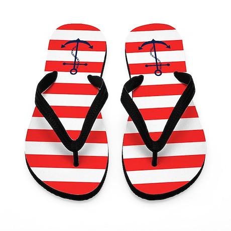 Blue Anchors on Red Stripes Flip Flops