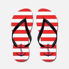 Blue Anchors on Red Stripes Flip Flops