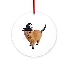 Orange Witch Cat Ornament (Round)