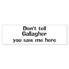 Don't tell Gallagher Bumper Bumper Sticker