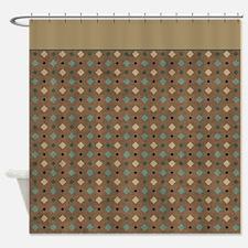 Brown & Green Diamond P5 Shower Curtain