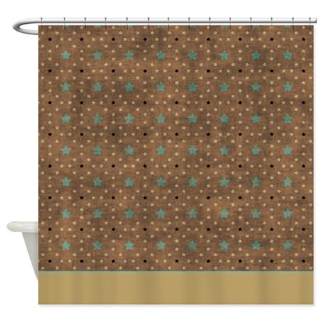 Brown Green Stars P2 Shower Curtain By