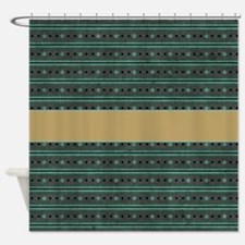 Brown & Green Stars P3 Shower Curtain