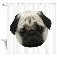 Pug Head Shower Curtain