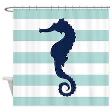 Blue Sea Horse Shower Curtain