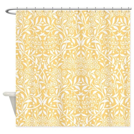 Yellow Floral Damask Shower Curtain By Mcornwallshop