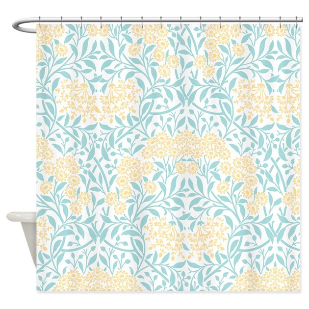 Aqua And Yellow Floral Damask Shower Curtain By Mcornwallshop
