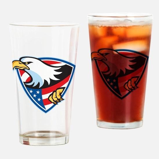 American Bald Eagle Flag Shield Drinking Glass