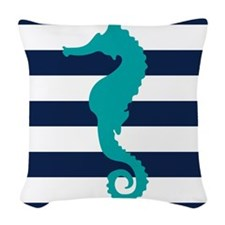 Teal Sea Horse Woven Throw Pillow