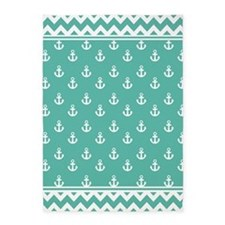 Medium Teal Anchors and Chevrons 5'x7'Area Rug