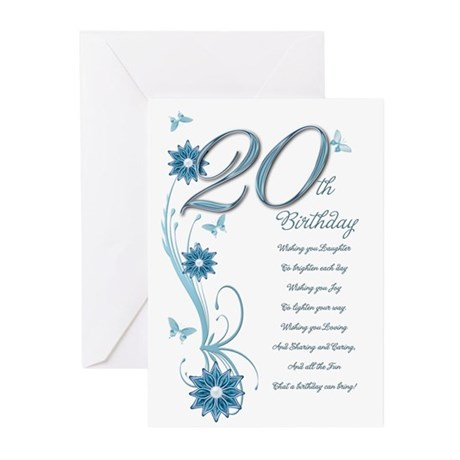 20th birthday in teal Greeting Cards (Pk of 10)