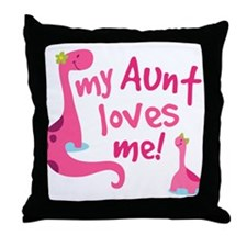 My Aunt Loves Me Dinosaur Throw Pillow
