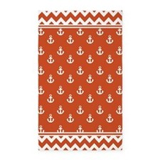Pumpkin Orange Anchors and Chevrons 3'x5' Area Rug