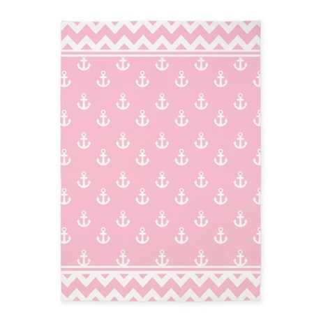 Light Rose Pink Anchors and Chevrons 5'x7'Area Rug