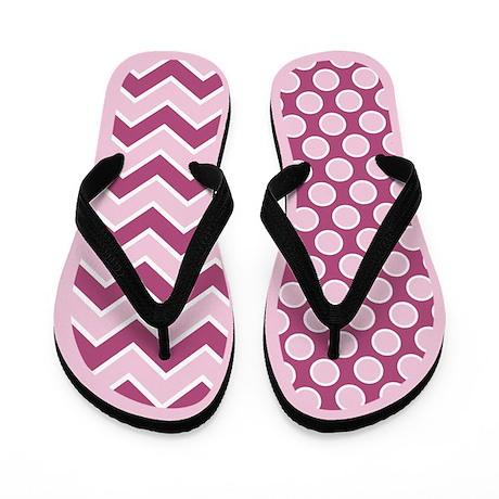 Pink mixed pattern Flip Flops