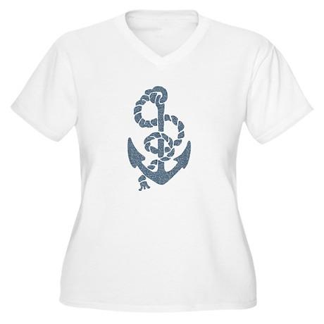 Nautical Stripes Anchor Plus Size T-Shirt