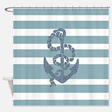 Nautical Stripes Anchor Shower Curtain