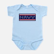 NAVY HORIZ Infant Bodysuit