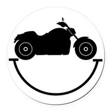 Happy Biker Round Car Magnet