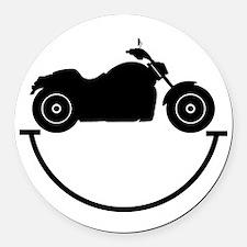 Happy Biker Round Car Magnet