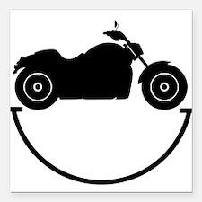"Happy Biker Square Car Magnet 3"" x 3"""